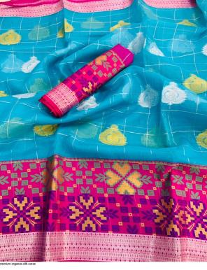 sky organza silk fabric weaving zari work wedding