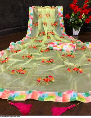 yellow chiffon  fabric embroidery work wedding