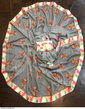 grey chiffon  fabric embroidery work festive