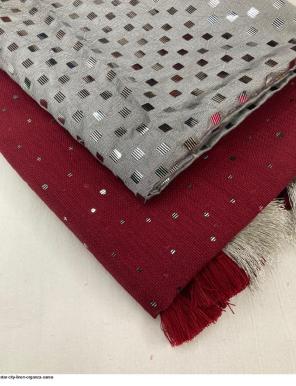 marron organza fabric foil printed work running