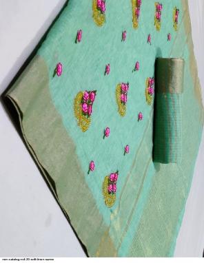 light green soft linen fabric embroidery work wedding