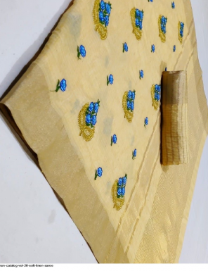 light yellow soft linen fabric embroidery work festive