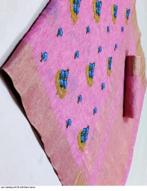 light pink  soft linen fabric embroidery work running