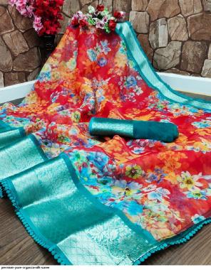 red organza silk fabric printed work ethnic