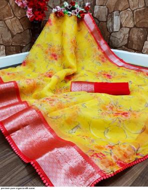 yellow organza silk fabric printed work party wear