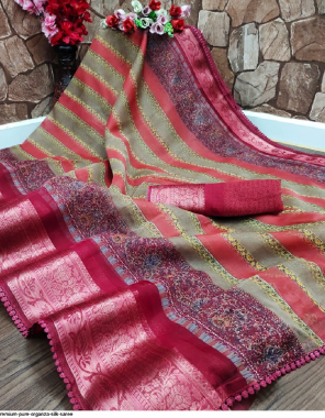 red organza silk fabric printed work casual
