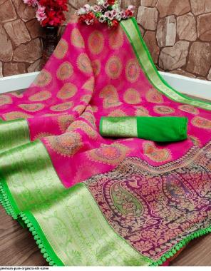 pink organza silk fabric printed work wedding