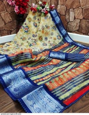 light peorrot organza silk fabric printed work festive