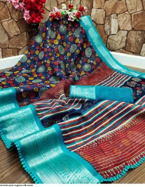 blue organza silk fabric printed work running