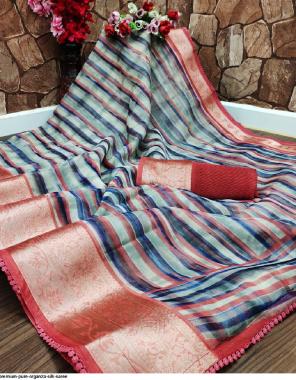 multi organza silk fabric printed work casual