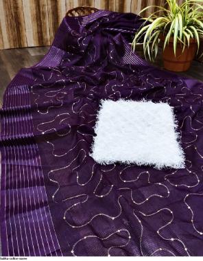 purple cotton  fabric sequence  work running