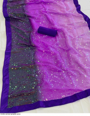 purple georgette fabric embroidery + sequence work festive