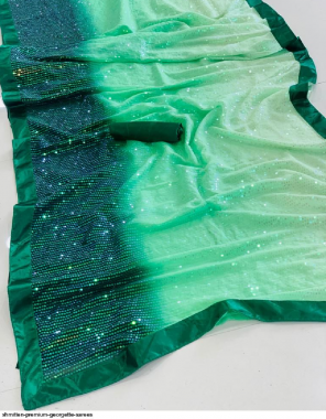 green georgette fabric embroidery + sequence work running