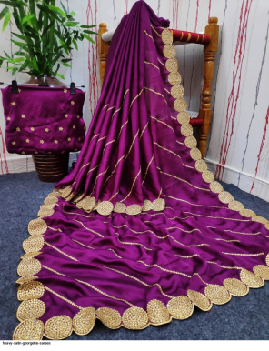 purple satin georgette  fabric embroidery work casual