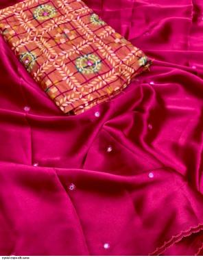 pink crepe silk fabric mirror work casual
