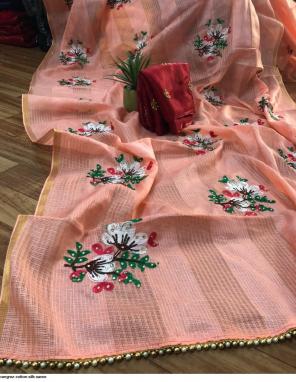 orange cotton silk fabric embroidery + diamond  work ethnic