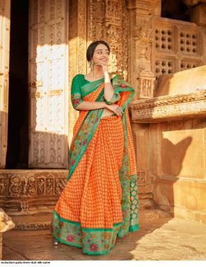 orange linen slub silk fabric digital print  work wedding