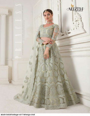 light green net fabric embroidery + facny work wedding