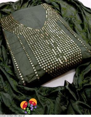 green top bottom - semi loan cotton | dupatta-nazmeen fabric squence work wedding