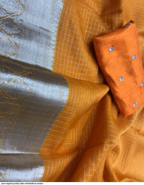 yellow organza fabric silver jacquard work party wear