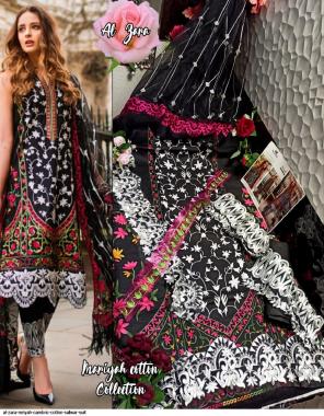 black top-cambric cotton bottom-semilawn dupatta-chiffon fabric embroidery + printed work running