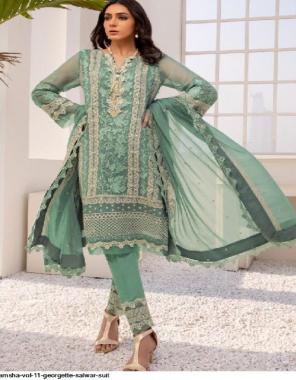 rama top-georgette | bottom-santoon | dupatta - nazmeen fabric embroidery work party wear