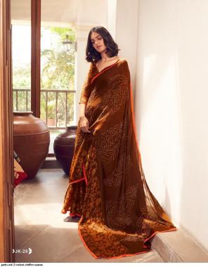 dark orange velvet chiffon fabric printed work ethnic