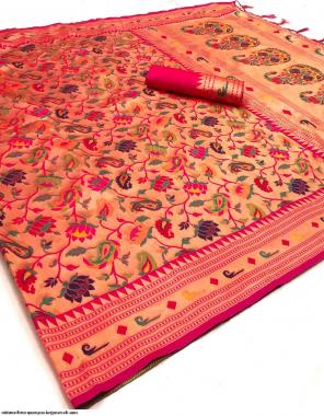 pink pure kanjivaram silk fabric jacquard work party wear