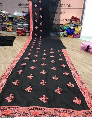 black organza silk fabric embroidery + fancy work party wear