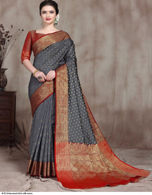 grey lichi silk  fabric weaving work festive
