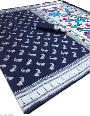 blue lichi silk  fabric fancy work party wear