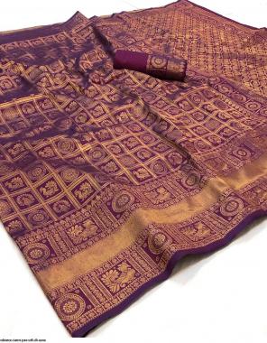 burgandi pure soft silk  fabric jacquard work running