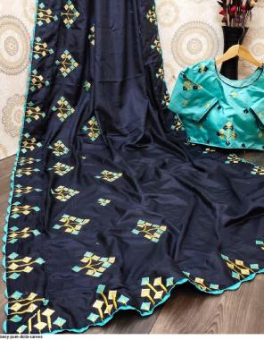 blue pure dolla (blouse stitch 38plus margin) fabric fancy work wedding
