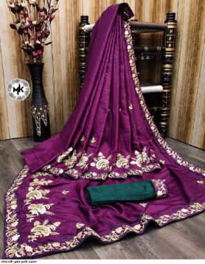 purple dola silk fabric gotta patti work ethnic