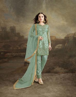 light rama top+dupatta+bottom-net | inner-santoon fabric embroidery+fancy work festiv