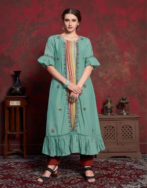 rama top - rayon cotton | jacket - muslin fabric fancy work running