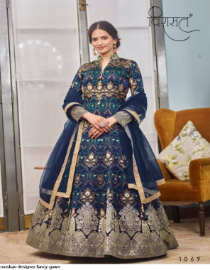 blue fancy fabric printed + jacquard work wedding