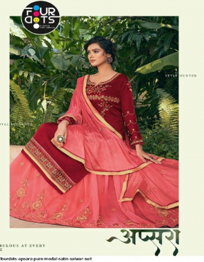 red top- pure model satin | bottom - georgette with inner santoon readywear ghaghra | dupatta -chinon fabric embroidery work wedding
