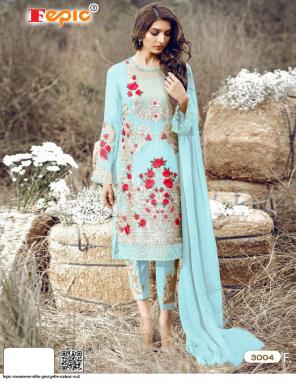 sky top- georgette | bottom+inner - santoon | dupatta -nazmeen fabric embroidery work wedding