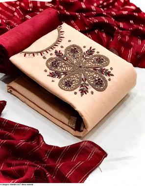 light orange top 2m- modal chanderi   bottom 2m + inner 1.60- santoon   dupatta 2.20m - cotton silk fabric handwork work running