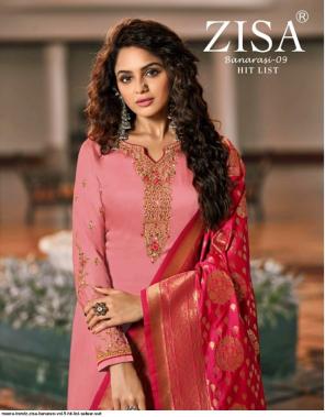 pink top-satin georgette   bottom+inner-santoon silk dupatta-pure banarasi jacquard fabric embroidery work party wear