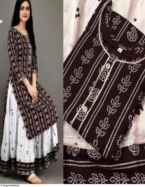 coffee rayon kurti with skirt fabric printed work casual