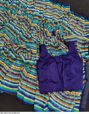 blue georgette (malbari silk stitch blouse ) fabric sequence work ethnic