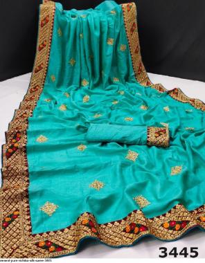 sky pure vichitra silk fabric embroidery work running