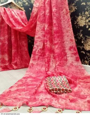 pink khadi silk fabric printed work festive