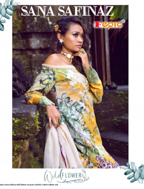 yellow top- cambric cotton | bottom-semi lawn | dupatta - net fabric printed + fancy work casual