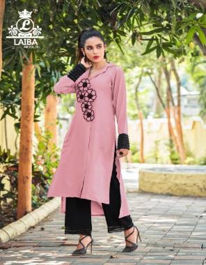 pink kurti - georgette   inner -santoon   plazzo-rayon cotton fabric facny work running