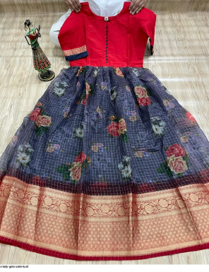 red satin fabric printed work ethnic