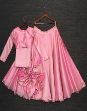 pink  chanderi silk fabric plian work running
