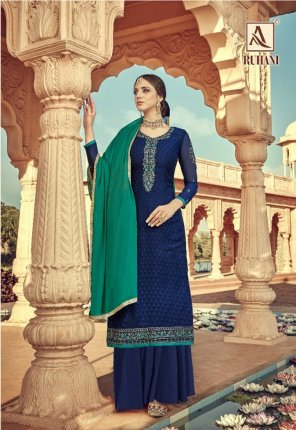 blue viscode fabric embroidery work casual wear